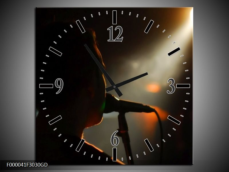 Wandklok op Glas Muziek | Kleur: Zwart, Oranje, Wit | F000041CGD