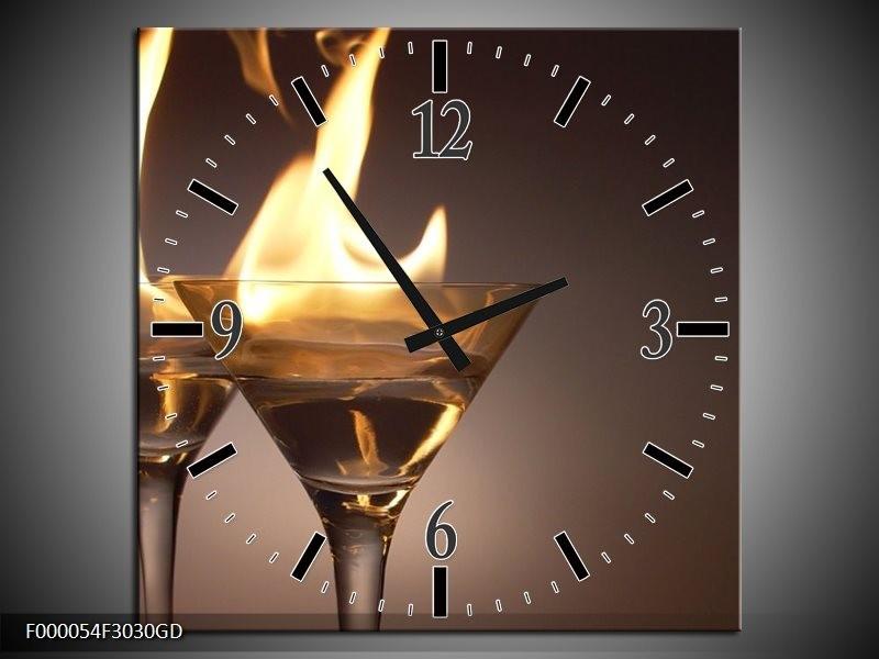 Wandklok op Glas Drankje | Kleur: Bruin, Geel, Grijs | F000054CGD