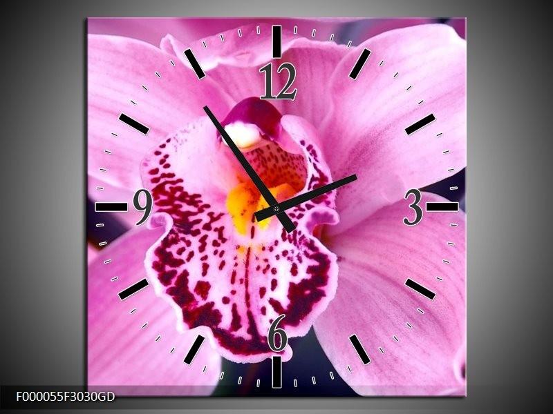 Wandklok op Glas Orchidee | Kleur: Paars, Rood, Wit | F000055CGD