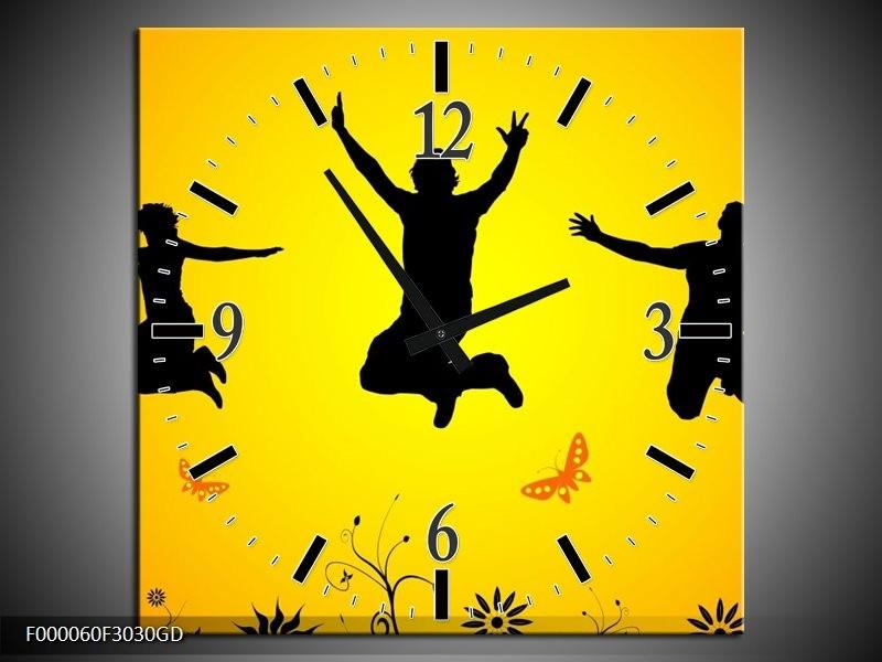 Wandklok op Glas Dansen   Kleur: Geel, Zwart,    F000060CGD