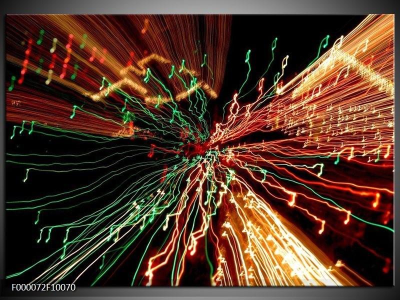 Glas schilderij Abstract | Groen, Oranje, Geel