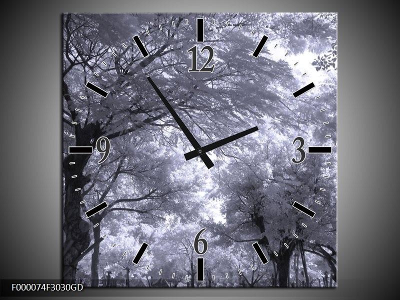 Wandklok op Glas Bomen | Kleur: Wit, Zwart, Grijs | F000074CGD