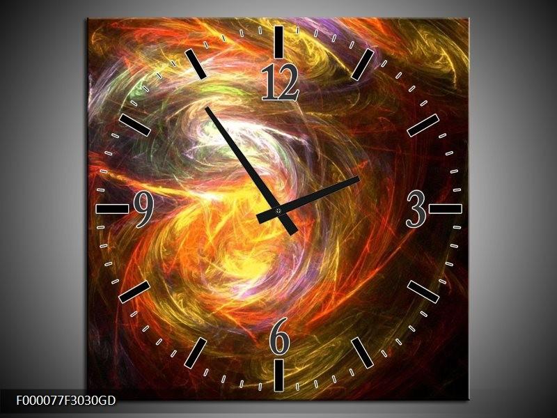 Wandklok op Glas Vuur   Kleur: Geel, Zwart, Groen   F000077CGD