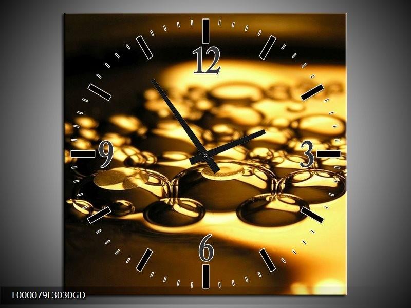 Wandklok op Glas Druppel | Kleur: Goud, Geel, Zwart | F000079CGD