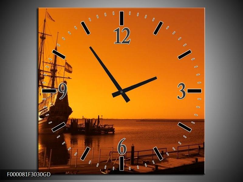 Wandklok op Glas Boot | Kleur: Oranje, Bruin, Zwart | F000081CGD