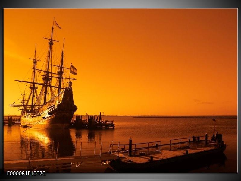 Glas schilderij Boot   Oranje, Bruin, Zwart