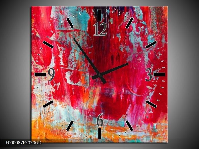 Wandklok op Glas Abstract | Kleur: Roze, Rood, Geel | F000087CGD