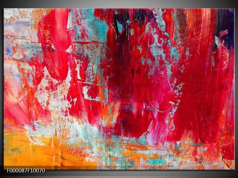 Glas schilderij Abstract | Roze, Rood, Geel