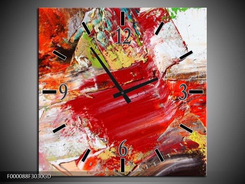 Wandklok op Glas Abstract   Kleur: Rood, Wit, Grijs   F000088CGD