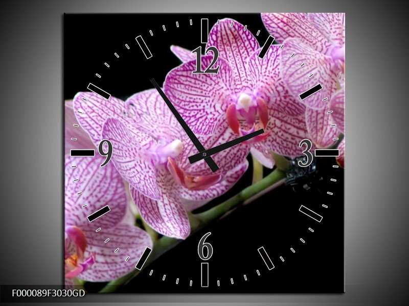 Wandklok op Glas Orchidee | Kleur: Paars, Zwart | F000089CGD