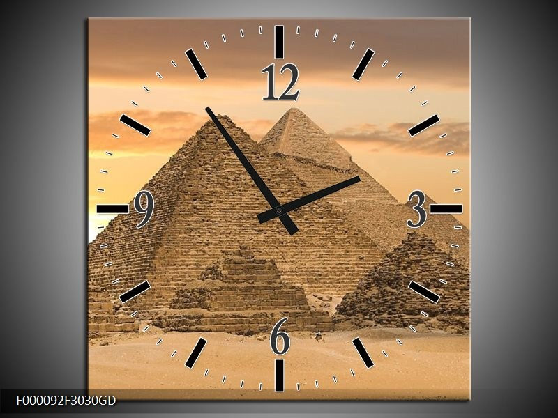 Wandklok op Glas Piramide | Kleur: Geel, Creme, Bruin | F000092CGD