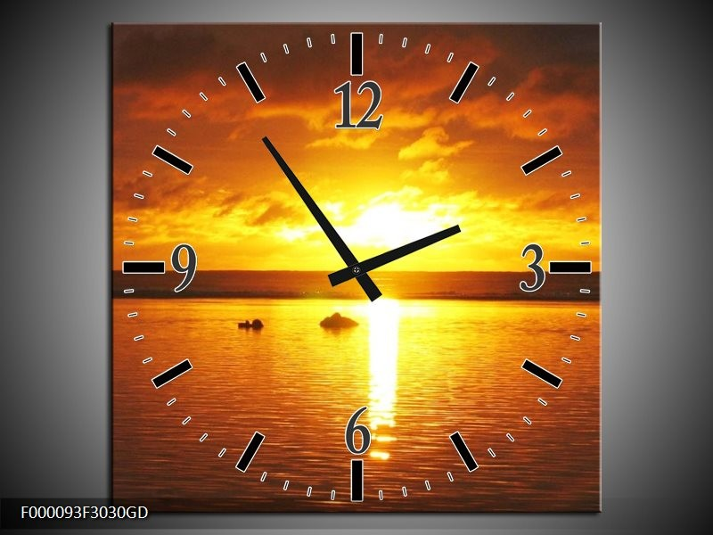 Wandklok op Glas Zonsondergang | Kleur: Geel, Oranje, Bruin | F000093CGD