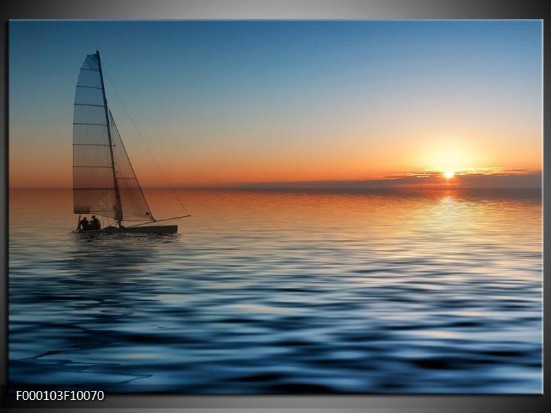 Glas schilderij Zonsondergang | Blauw, Geel, Oranje