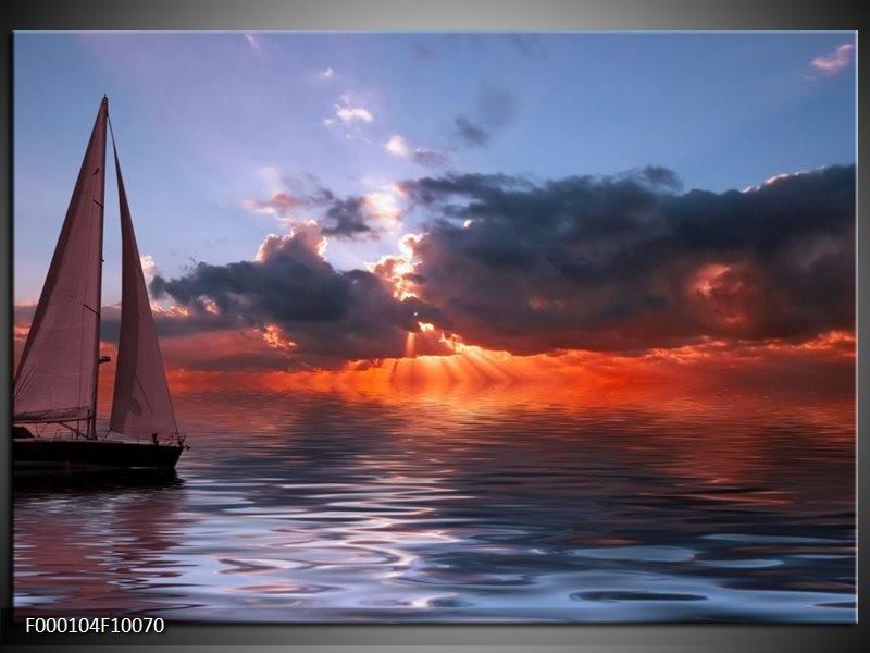 Glas schilderij Boot | Rood, Grijs, Wit