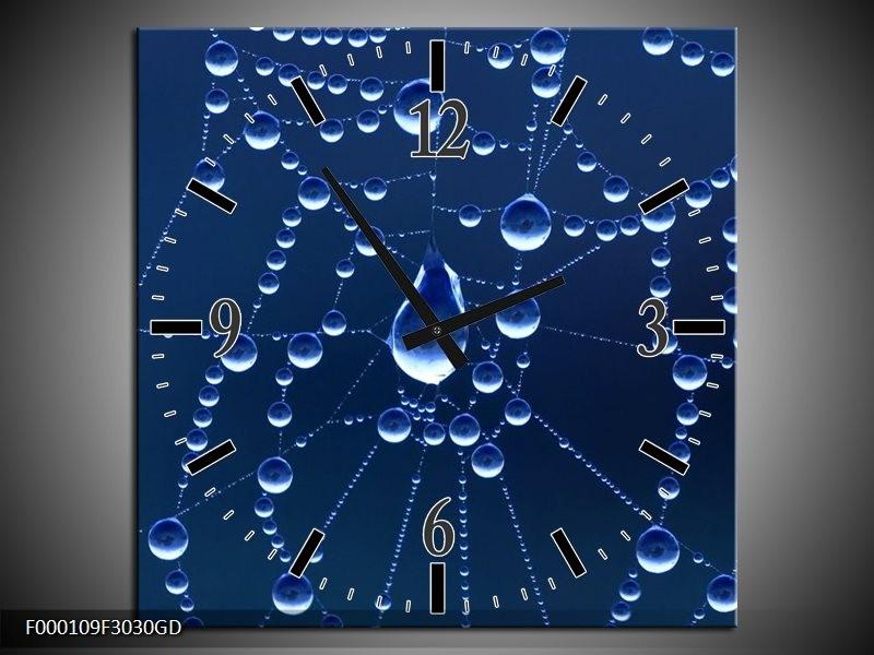 Wandklok op Glas Druppels | Kleur: Blauw, Wit, | F000109CGD