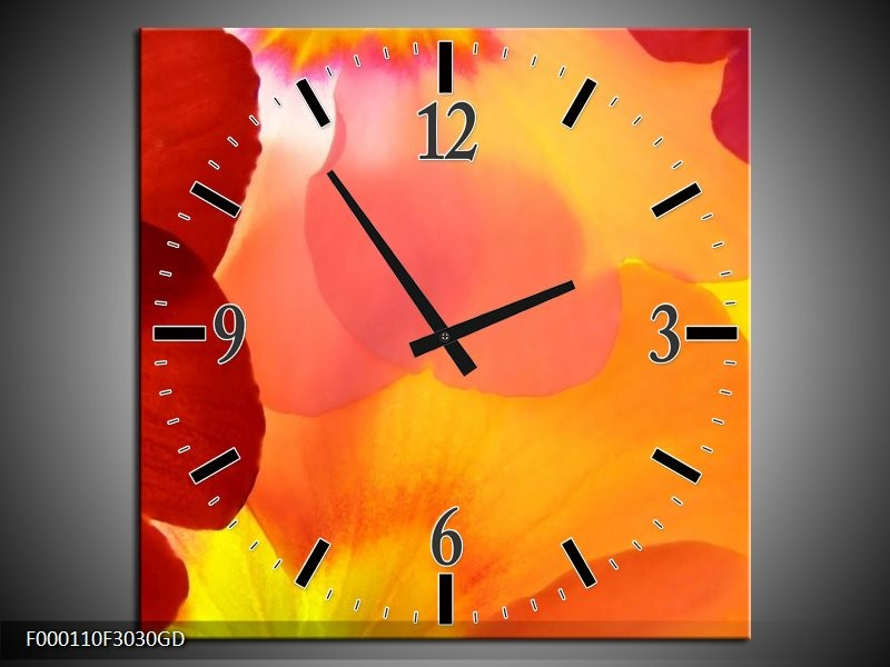 Wandklok op Glas Blaadjes | Kleur: Rood, Geel, Oranje | F000110CGD