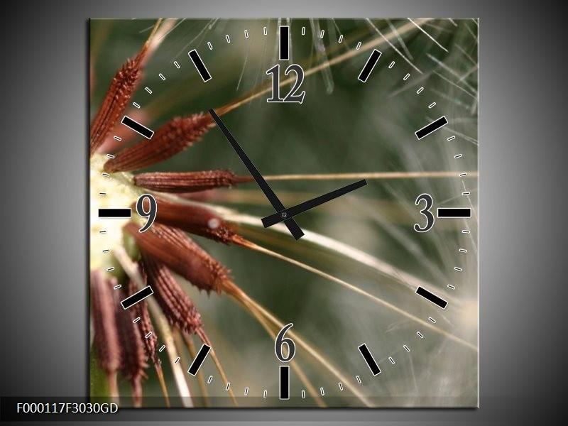 Wandklok op Glas Natuur | Kleur: Bruin, Wit, Groen | F000117CGD