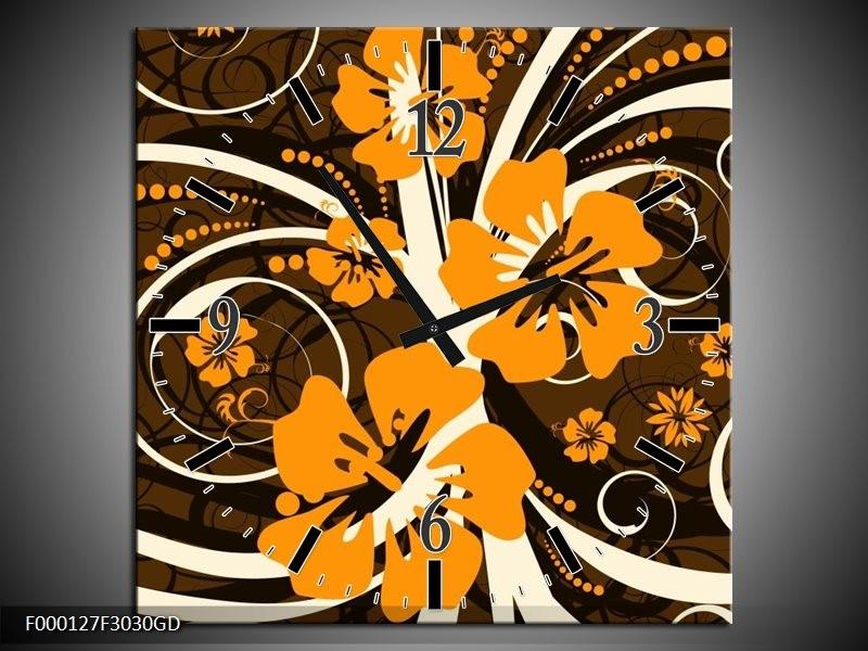 Wandklok op Glas Abstract | Kleur: Oranje, Bruin, Wit | F000127CGD