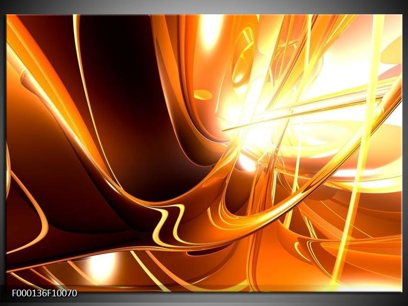 Glas schilderij Abstract | Wit, Bruin, Oranje