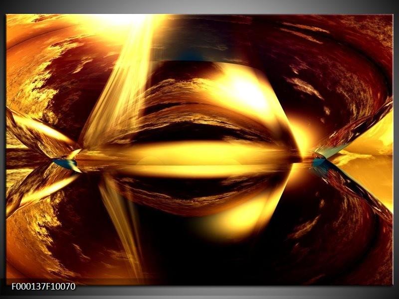 Glas schilderij Abstract | Bruin, Geel, Zwart