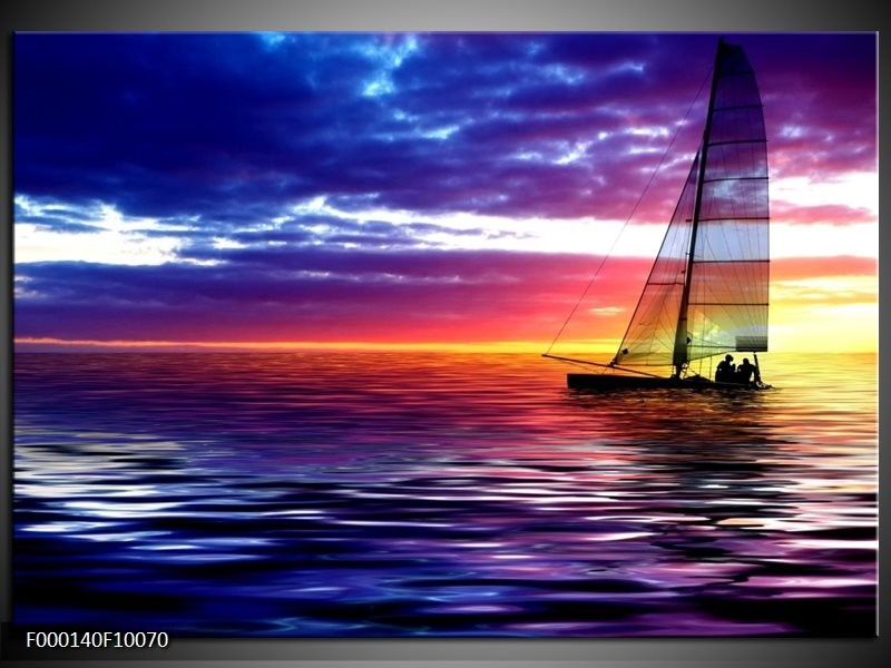 Glas schilderij Boot   Paars, Geel, Wit