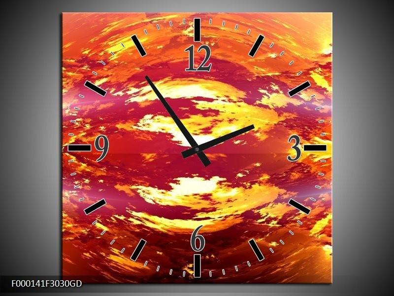 Wandklok op Glas Vulkaan | Kleur: Oranje, Geel, Rood | F000141CGD