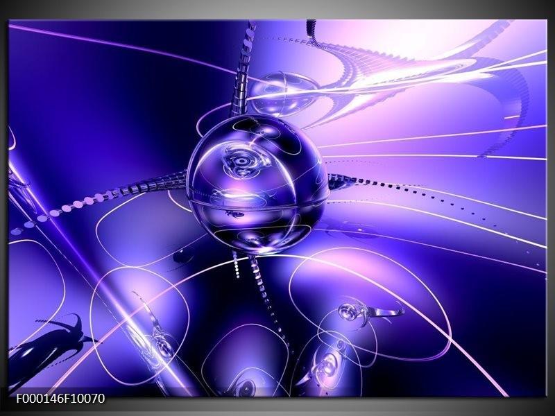 Glas schilderij Abstract | Blauw, Paars, Wit