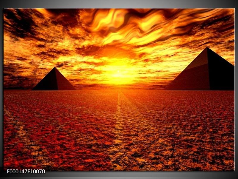 Glas schilderij Egypte   Oranje, Geel, Rood
