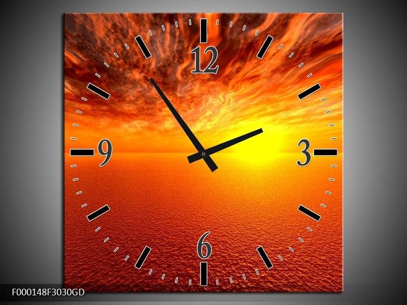 Wandklok op Glas Zonsondergang | Kleur: Geel, Oranje | F000148CGD