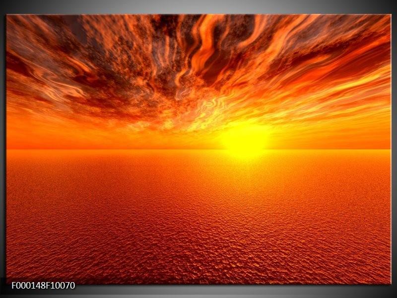 Glas schilderij Zonsondergang | Geel, Oranje