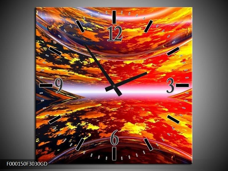 Wandklok op Glas Modern | Kleur: Rood, Oranje, Geel | F000150CGD