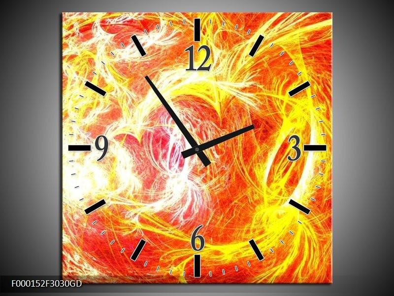 Wandklok op Glas Vuur | Kleur: Geel, Oranje, Rood | F000152CGD