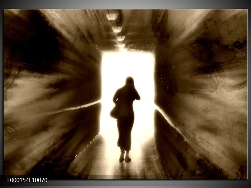 Glas schilderij Tunnel | Wit, Bruin, Grijs