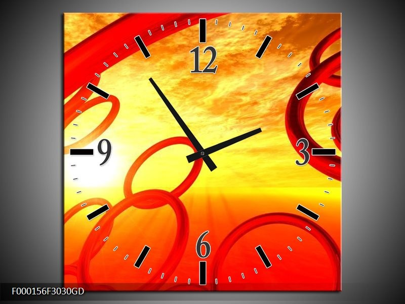 Wandklok op Glas Zon | Kleur: Geel, Rood, Oranje | F000156CGD