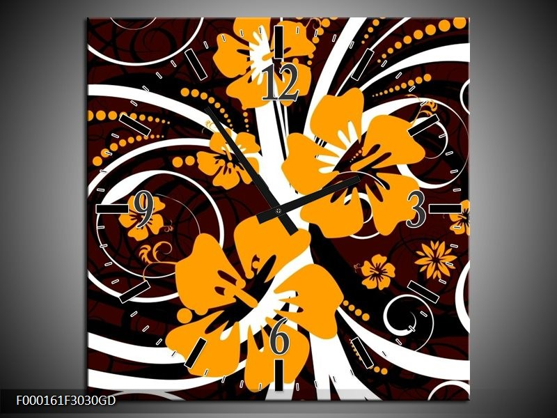 Wandklok op Glas Abstract | Kleur: Wit, Oranje, Bruin | F000161CGD