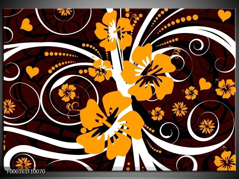 Glas schilderij Abstract | Wit, Oranje, Bruin