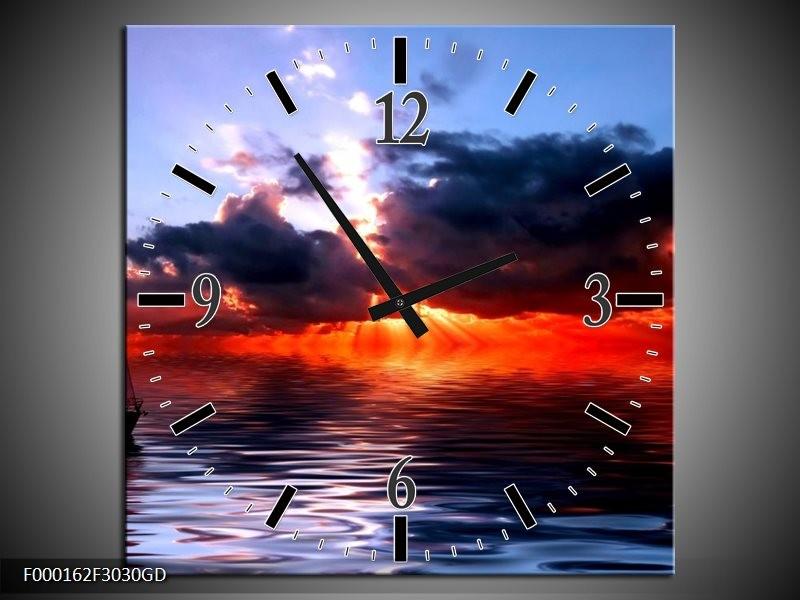 Wandklok op Glas Zee | Kleur: Rood, Geel, Blauw | F000162CGD