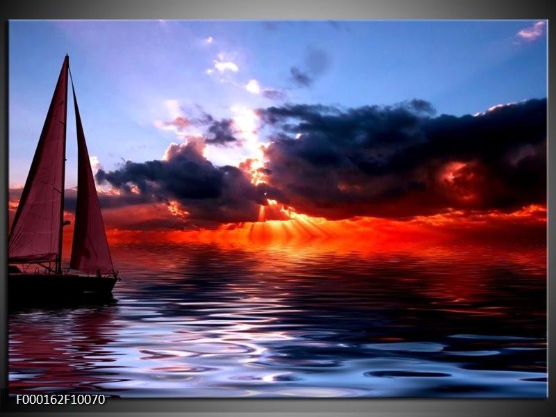 Glas schilderij Zee | Rood, Geel, Blauw