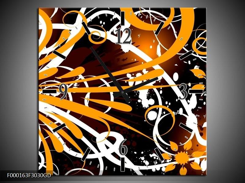 Wandklok op Glas Abstract | Kleur: Oranje, Wit, Bruin | F000163CGD
