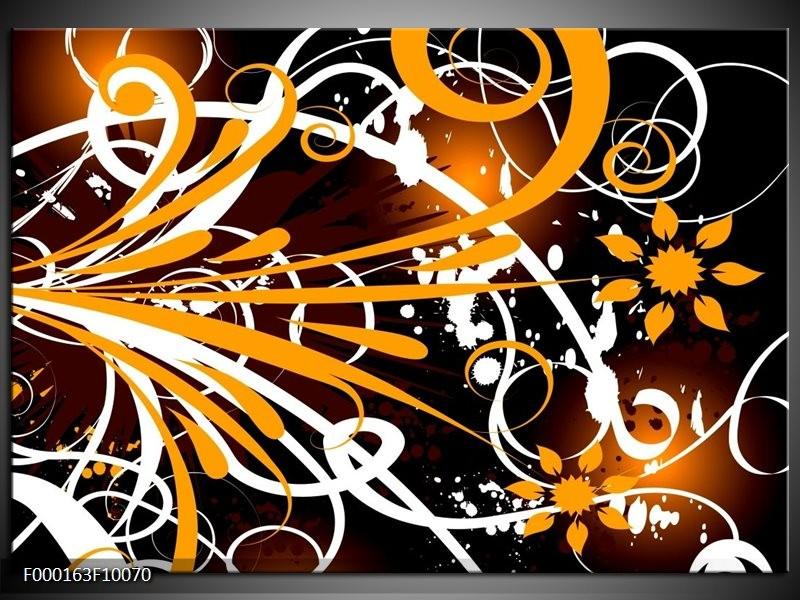Glas schilderij Abstract | Oranje, Wit, Bruin