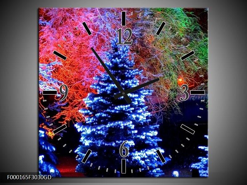 Wandklok op Glas Kerstboom | Kleur: Blauw, Groen, Rood | F000165CGD