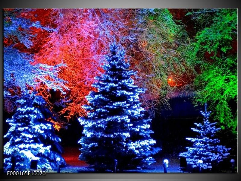 Glas schilderij Kerstboom | Blauw, Groen, Rood