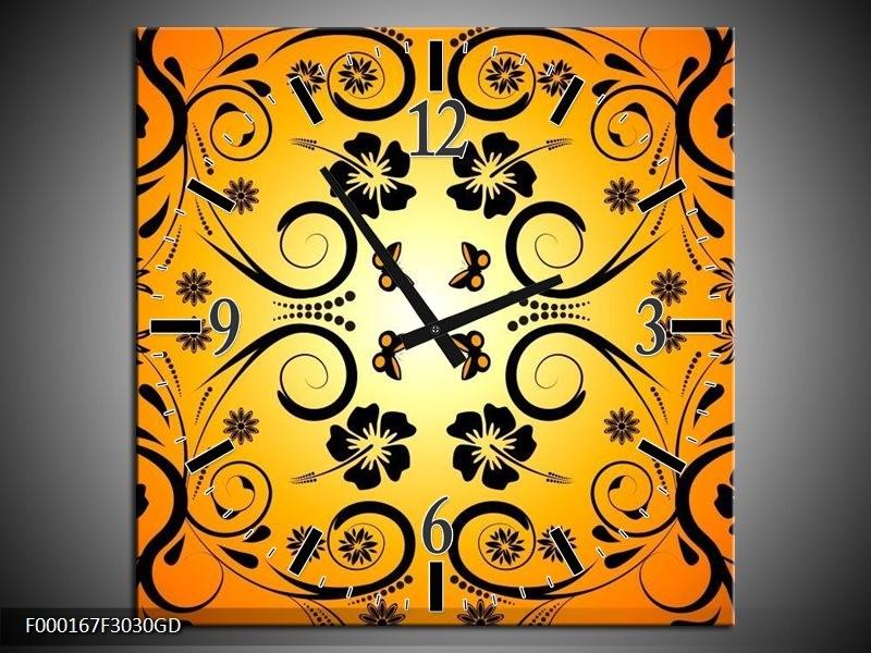 Wandklok op Glas Abstract | Kleur: Zwart, Geel, Oranje | F000167CGD