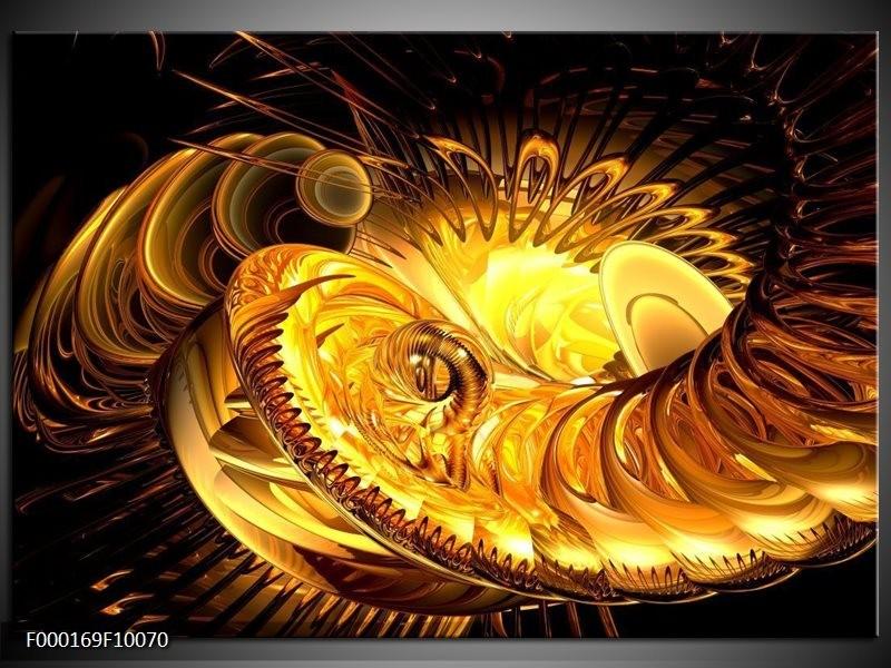Glas schilderij Abstract   Geel, Goud, Zwart