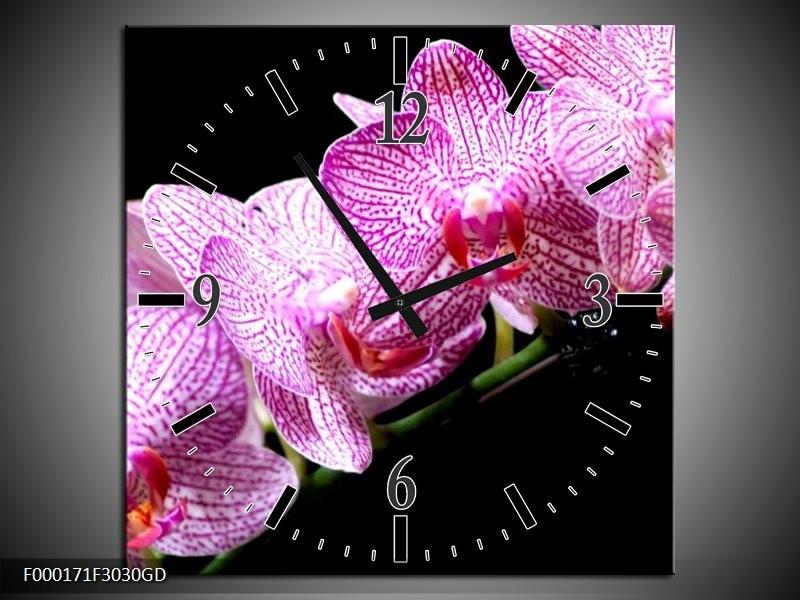Wandklok op Glas Orchidee | Kleur: Paars, Wit, Zwart | F000171CGD