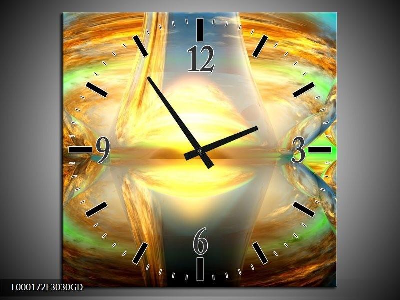 Wandklok op Glas Spiegel | Kleur: Geel, Groen, Grijs | F000172CGD