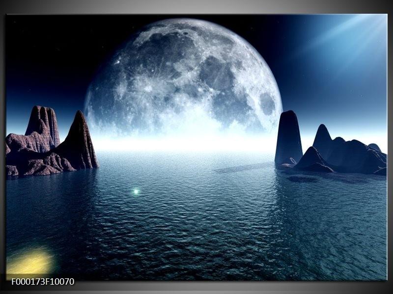 Glas schilderij Maan | Blauw, Wit, Grijs