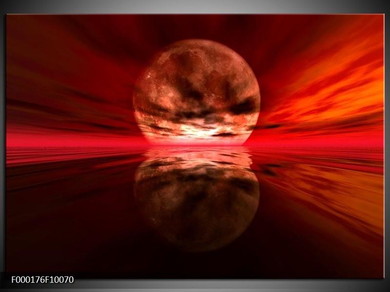 Glas schilderij Maan | Rood, Zwart, Bruin