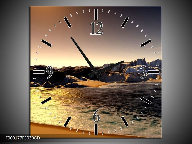 Wandklok op Glas Strand | Kleur: Wit, Grijs, Bruin | F000177CGD