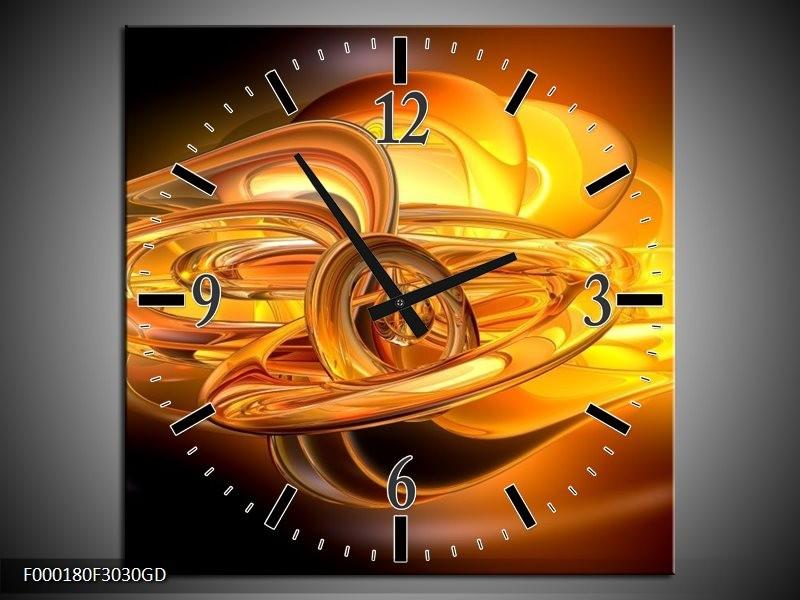Wandklok op Glas Abstract | Kleur: Geel, Oranje, Bruin | F000180CGD